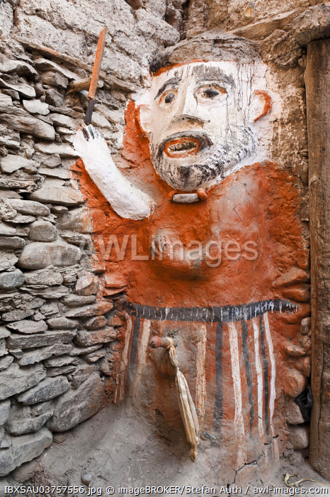 Animistic figure as a guard at the entrance to a house, Kagbeni village, Lower Mustang, Nepal, Asia