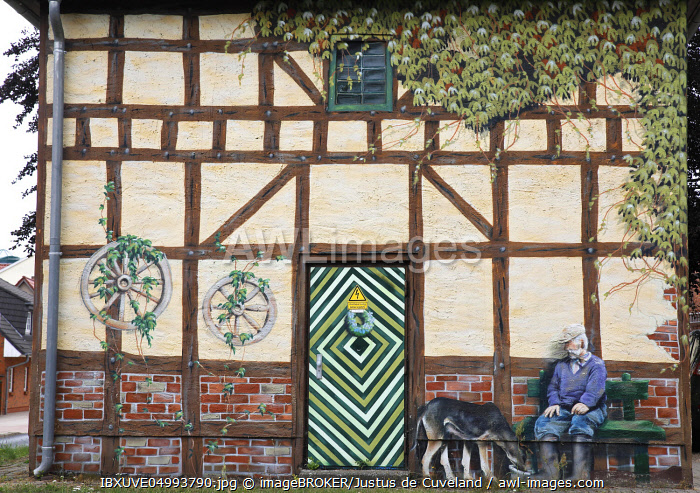 Artful, funny painted little house, Wolgast, Mecklenburg-Western Pomerania, Germany, Europe
