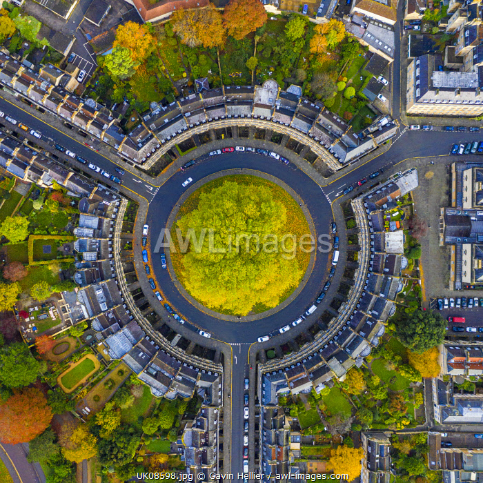 Aerial view over the Georgian housing of The Circus, Bath, Somerset, England