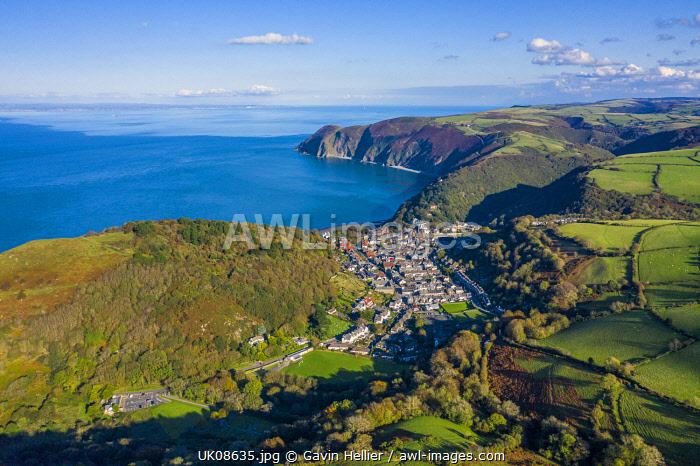 Aerial view over the Valley of the Rocks and Lynton, Exmoor National Park, North Devon, England