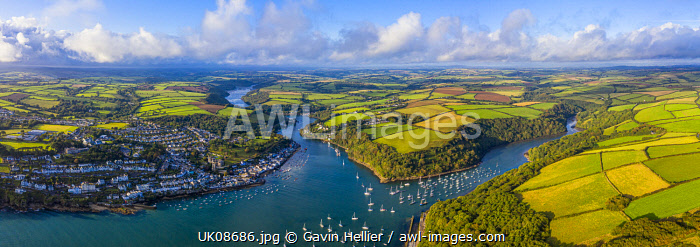 Aerial view over Fowey, Cornwall, England