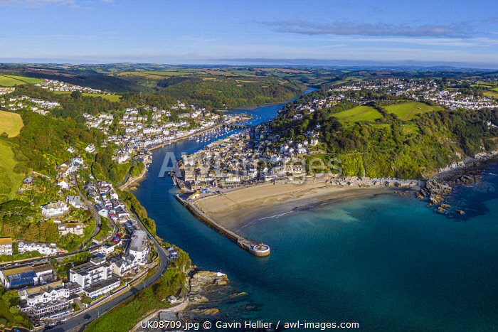 awl-images.com - England / Aerial view over Looe, Cornish fishing town, Cornwall, England