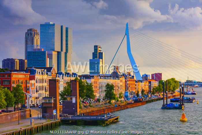 awl-images.com - Netherlands / View of Rotterdam skyline with Erasmus bridge at sunset, Holland/Netherlands
