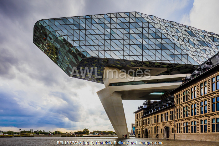 awl-images.com - Belgium / Port Authority by Zaha Hadid in Antwerp at sunset, Belgium
