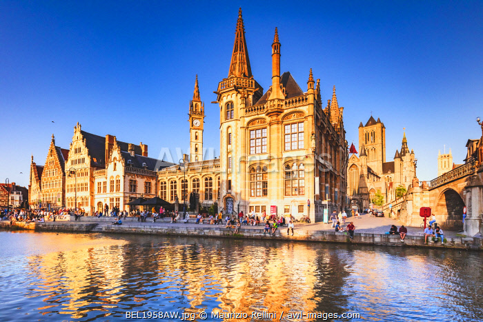awl-images.com - Belgium / View of Ghent river with the waterfront buildings reflecting in the water canal, Belgium