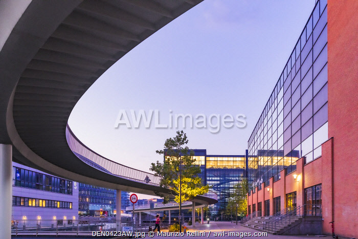 awl-images.com - Denmark / View of the bikes suspended bridge and the Fisketorvet shopping centre at dawn on a summer morning in Copenhagen, Denmark