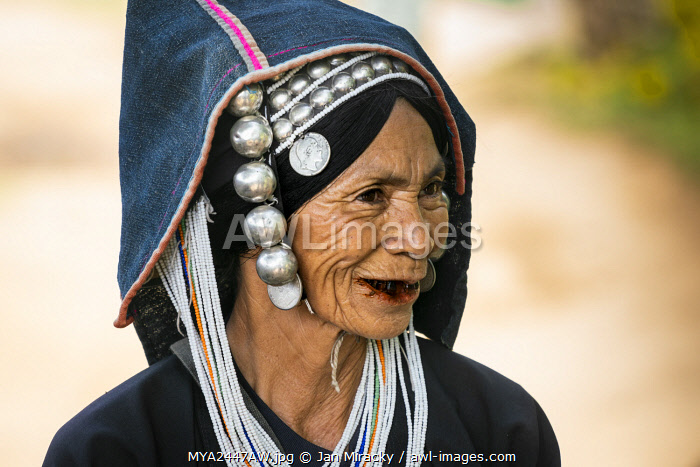 awl-images.com - Myanmar / Senior lady of Akha tribe near Kengtung, Kengtung Township, Kengtung District, Shan State, Myanmar