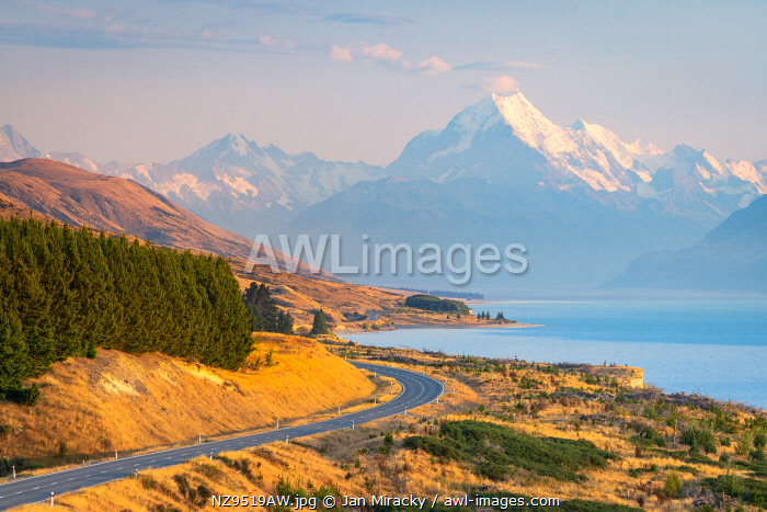 awl-images.com - New Zealand / Snowcapped Mount Cook viewed from Lake Pukaki viewing point at sunrise, Mount Cook National Park, Mackenzie District, Canterbury, South Island, New Zealand