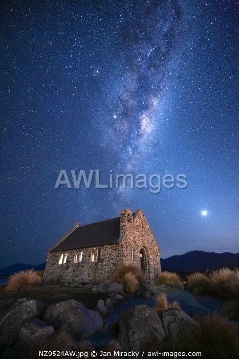 Milky way galactic center over Church of the Good Shepherd, Tekapo, Mackenzie District, Canterbury, South Island, New Zealand