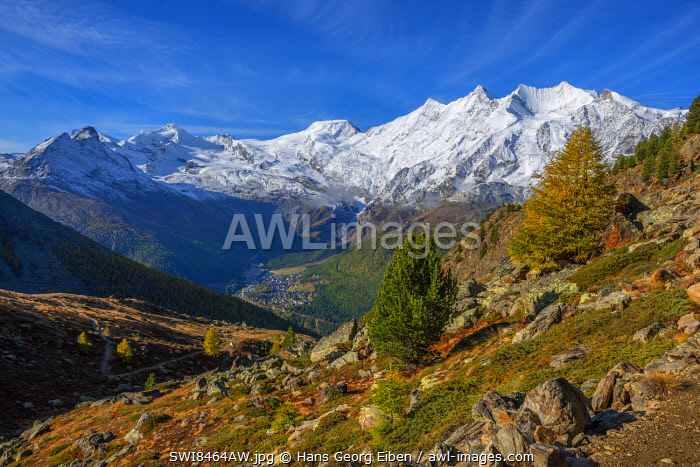 awl-images.com - Switzerland / View from Kreuzboden on Saas-Fee and the Mischabel mountain range, Valais, Switzerland