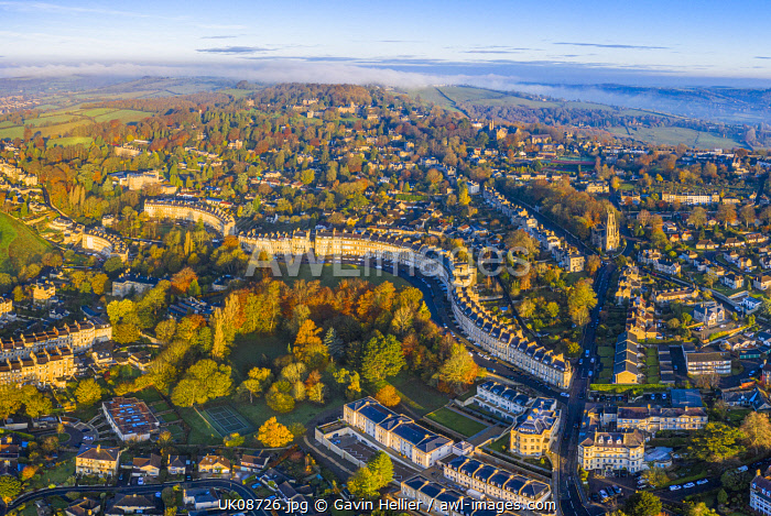 awl-images.com - England / Aerial view over the Georgian city of Bath and Lansdown Cresent, Somerset, England
