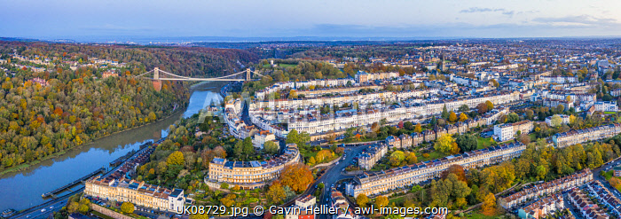 awl-images.com - England / Aerial view over the Avon Gorge, Clifton Suspension Bridge, Clifton, Bristol, England