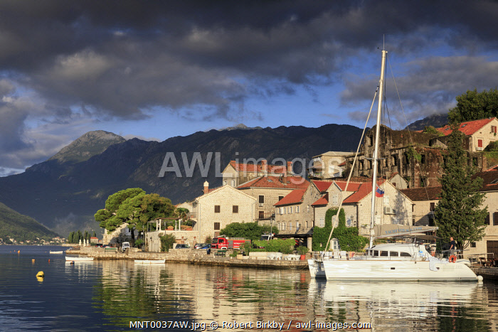 awl-images.com - Montenegro / Montenegro, Bay of Kotor, Perast. Yacht in the harbour.