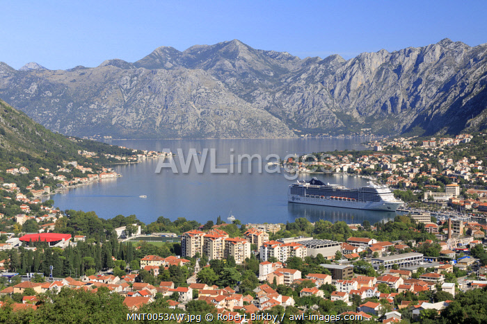 awl-images.com - Montenegro / Montenegro, Bay of Kotor, Kotor. A cruise ship in the bay.