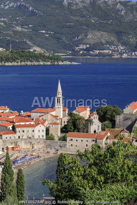 awl-images.com - Montenegro / Montenegro, Budva. An elevated view of the Old Town.