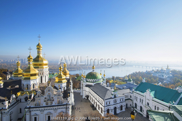 Ukraine, Kyiv, Pechersk Lavra, Monastery of the Caves, Orthodox Christian Monastery, UNESCO World Heritage Site, Gold Domes Of The Cathedral of the Dormition, Refectory Church Of Saint Anthony and Theodosius, Dnieper River