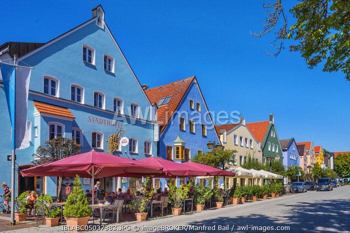 City hotel and colorful facades, Lange Zeile, Erding, Upper Bavaria, Bavaria, Germany, Europe