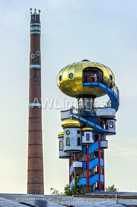 Kuchlbauer Tower, also Hundertwasser Tower by Friedensreich Hundertwasser and Peter Pelican in the beer garden of the Kuchlbauer Brewery, with the chimney of the brewery, Kuchlbauer's World of Beer, Abensberg, Lower Bavaria, Bavaria, Germany, Europe
