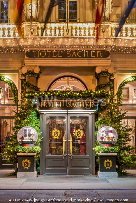 Hotel Sacher entrance decorated with Christmas lights, Vienna, Austria