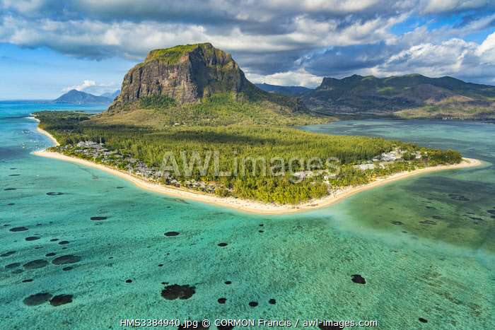 awl-images.com - Mauritius / Mauritius, Black River disctrict, Le Morne Brabant, listed as World Heritage by UNESCO (aerial view)