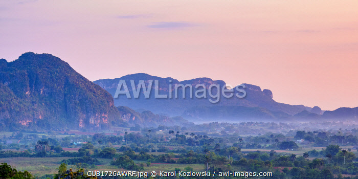 awl-images.com - Cuba / Vinales Valley at sunrise, elevated view, UNESCO World Heritage Site, Pinar del Rio Province, Cuba
