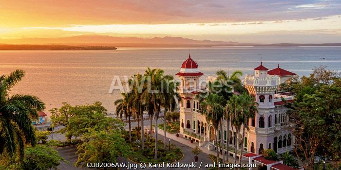 Palacio de Valle at sunrise, elevated view, Cienfuegos, Cienfuegos Province, Cuba