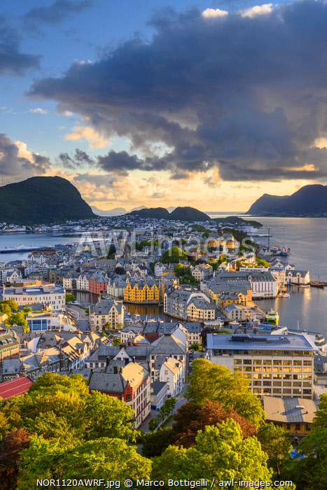 Alesund, More og Romsdal, Norway. Cityscape at sunset.
