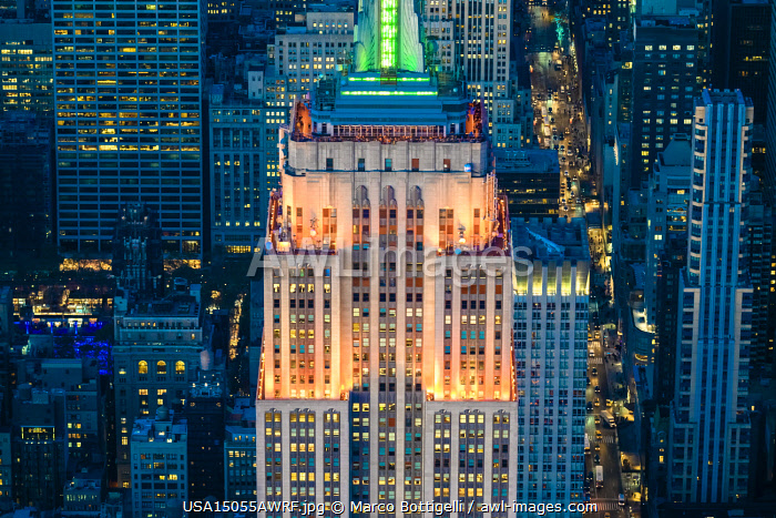 Manhattan, New York City, USA. Aerial view of the Empire State Building at dusk.