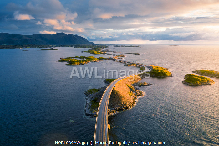 Aerial view of the Atlantic Ocean Road at sunset, More og Romsdal, Norway