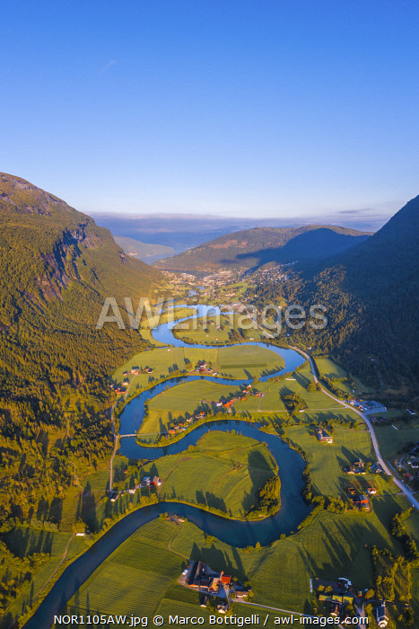 Stryn, Sogn og Fjordane, Norway. Aerial view of the winding river.