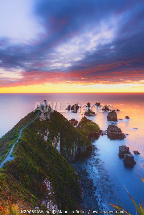 Elevated view of Nugget Point lighthouse in the Catlins national park, Otago, South Island, New Zealand