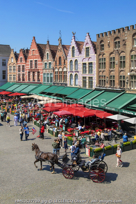 Belgium, Western Flanders, Bruges, historical centre listed as World Heritage by UNESCO, Grand Place, restaurant terraces and gabled house