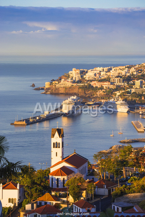 Portugal, Madeira, Funchal, View of Sao Goncalo Church overlooking Funchal harbour and town