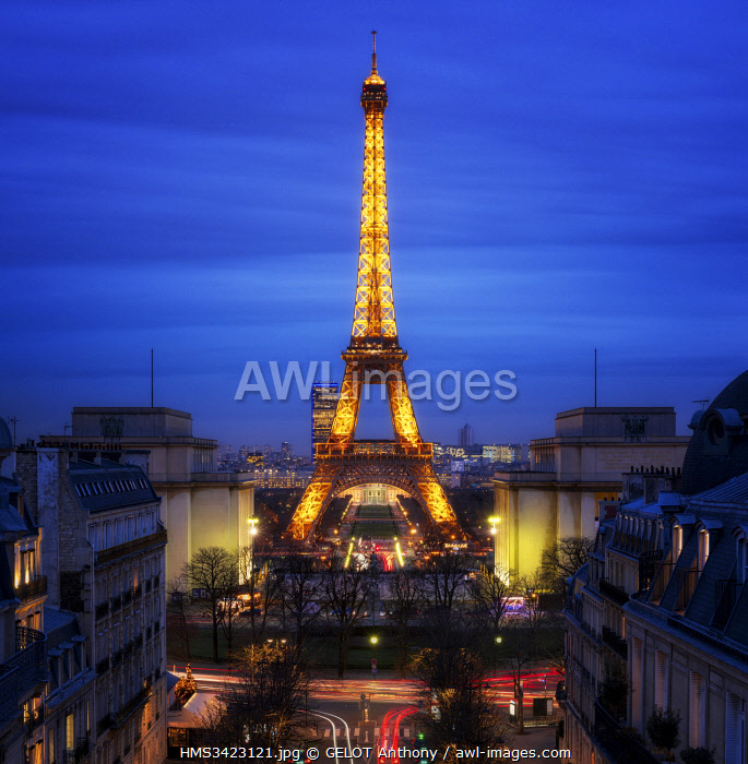 France, Paris, Eiffel Tower and Trocadero Square at the Blue Hour