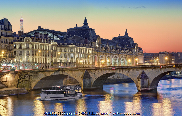 France, Paris, the banks of the Seine river listed as World Heritage, Royal bridge and the Orsay museum