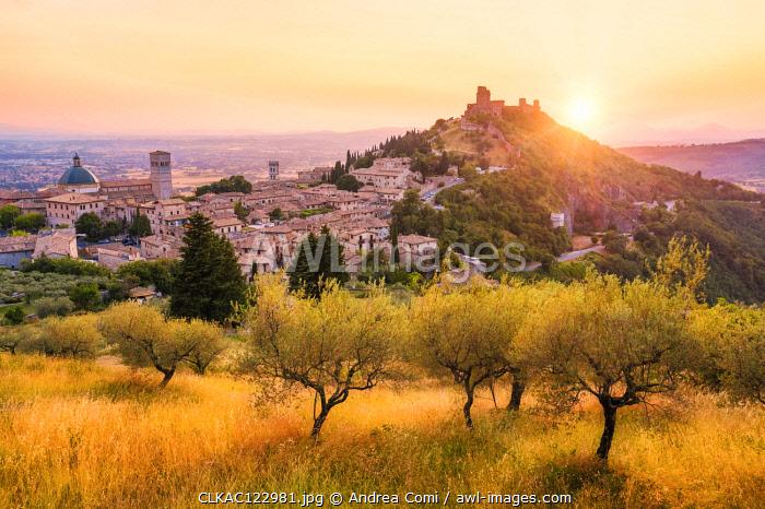 Sunset over Assisi, Perugia province, Umbria, Italy, Europe