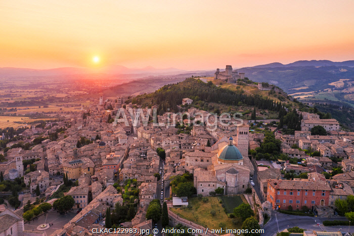 Sunset over Assisi, Perugia province, Umbria, Italy, Europe