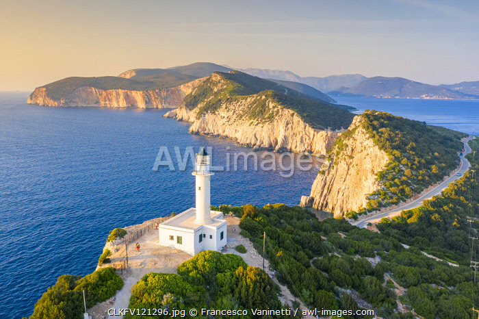 Aerial view of the lighthouse of Cape Lefkatas, Lefkada, Ionian Islands region, Greece.