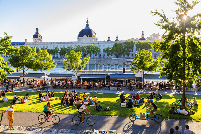 France, Rhone, Lyon, historical site listed as World Heritage by UNESCO, quay Victor Augagneur, Rhone River banks with a view of Hotel Dieu and Notre Dame de Fourviere Basilica