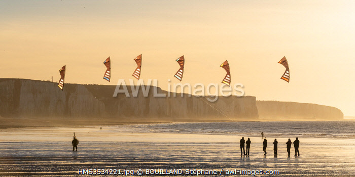awl-images.com - France / France, Somme, Ault, team of cervicists who trains synchronized kite flying on the beach of Ault near the cliffs at sunset