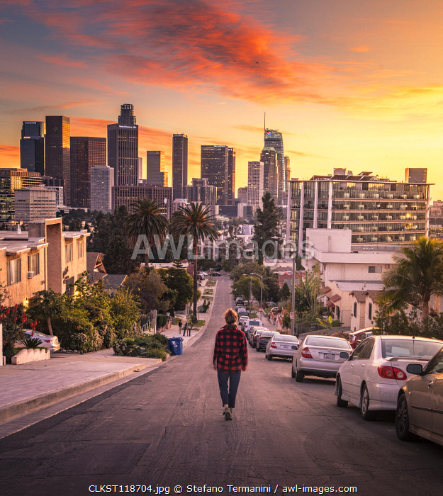 Los Angeles Downtown at sunset as seen from Figueroa district. Los Angeles, California, USA