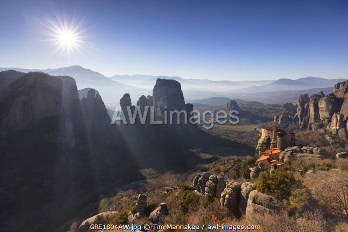 Viewpoint above the Holy Monastery of Rousanou, Meteora, Thessaly, Greece