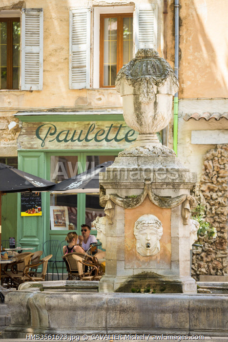 France, Var, Green Provence, Cotignac, the fountain of the Four Seasons of 1810 on Cours Gambetta