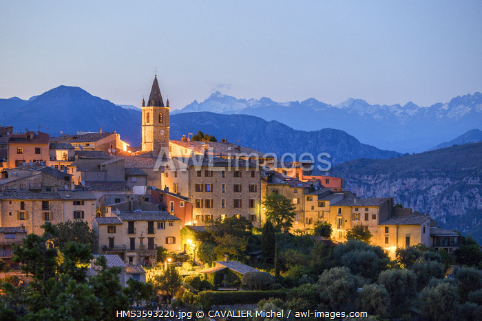 France, Alpes Maritimes, Parc Naturel Regional des Prealpes d'Azur, Le Broc, Mercantour peaks in the background