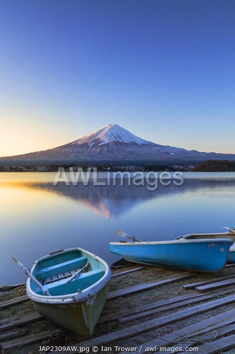 Mount Fuji and Lake Kawaguchi at dawn, Yamanashi Prefecture, Japan