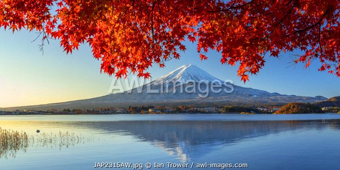 Mount Fuji and Lake Kawaguchi, Yamanashi Prefecture, Japan