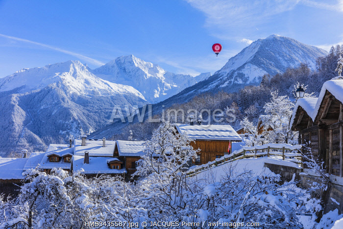 France, Savoie, Courchevel, Saint-Bon-Tarentaise, the hamlet Le Fontanil dominated by Le Grand Bec (3398 m) and Dent du Villard (2284 m), massif of Vanoise, Tarentaise Valley