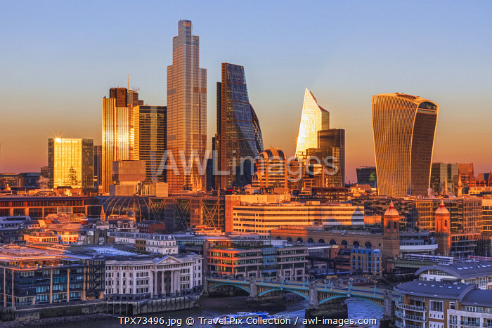 England, London, City of London Skyline showing Modern Skyscrapers
