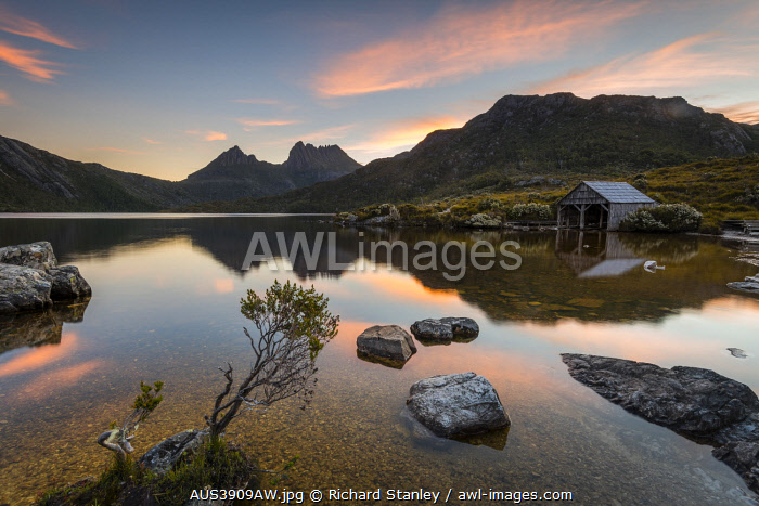 awl-images.com - Australia / Boatshed and Reflections in Dove Lake. Cradle Mountain National Park, Davenport and Cradle Mountain, Tasmania, Australia