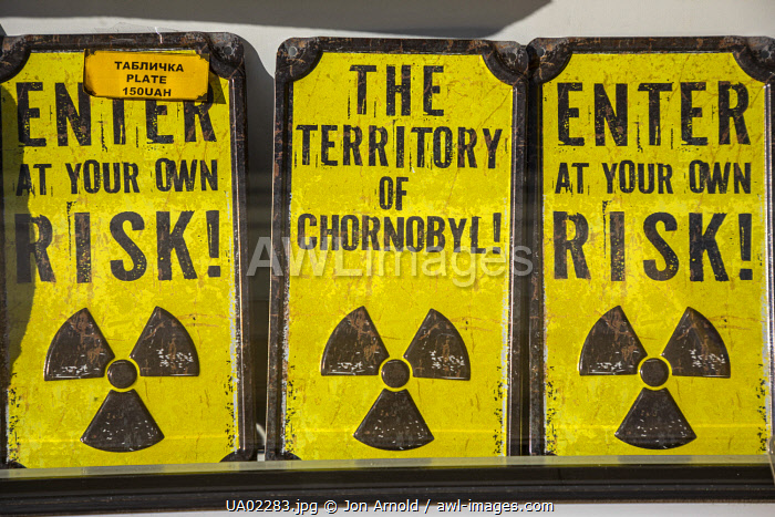 awl-images.com - Ukraine / Radiation warning signs for sale, Chernobyl Exclusion Zone, Ukraine
